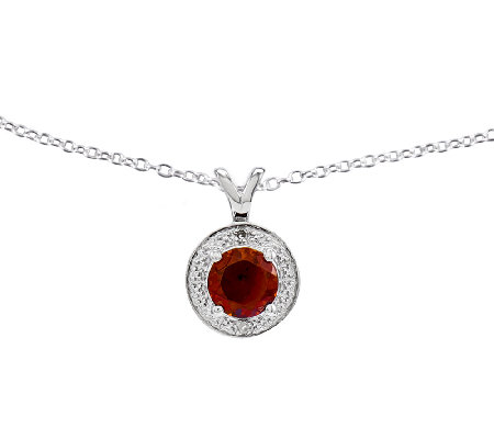 "Sterling Round Faceted Birthstone Pendant w/ 18"" Chain"