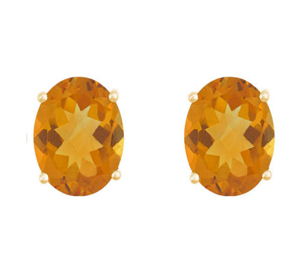 8x6mm Oval Semi-Precious Gemstone Stud Earrings, 14K Yellow
