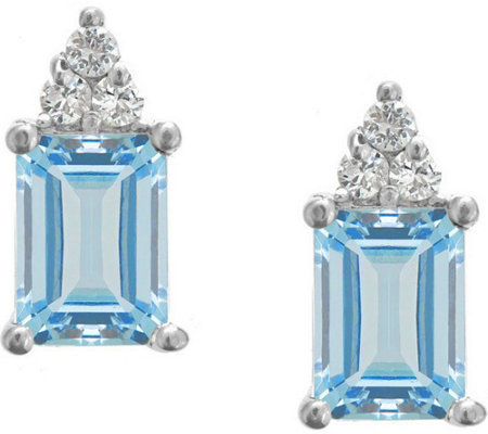 Premier Emerald-Cut Aquamarine & Diamond Earrings, 14K