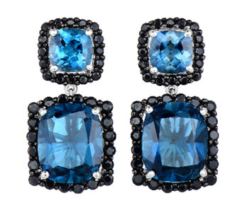 12.50cttw London Blue Topaz & Black Spinel Earrings, Sterling - J338635
