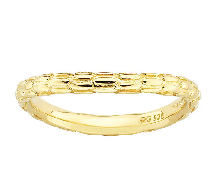 Simply Stacks Sterling & 18K Gold Plated CurvedTextured Ring
