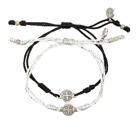 My Saint My Hero Breathe Blessing Silvertone Bracelet Set