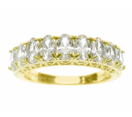 Judith Ripka Sterling 14K-Clad Diamonique Oval Band Ring