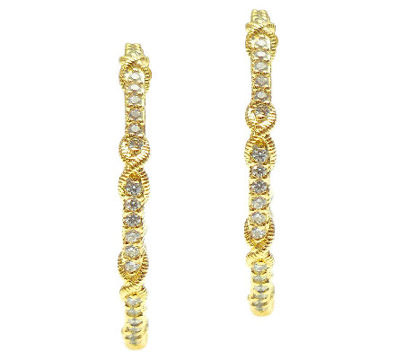 Judith Ripka Sterling 14K Clad Diamonique Hoop Earrings