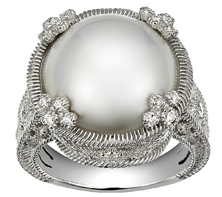 Judith Ripka Sterling Round Mabe Pearl Ring