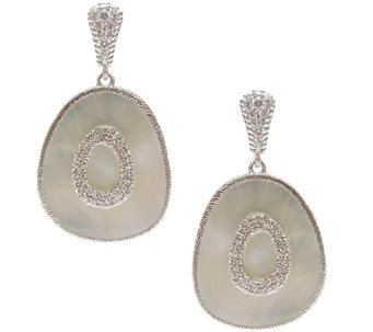 Judith Ripka Sterling Mother-of-Pearl Oblong Da ngle Earrings - J340635
