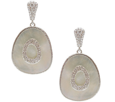 Judith Ripka Sterling Mother-of-Pearl Oblong Da ngle Earrings