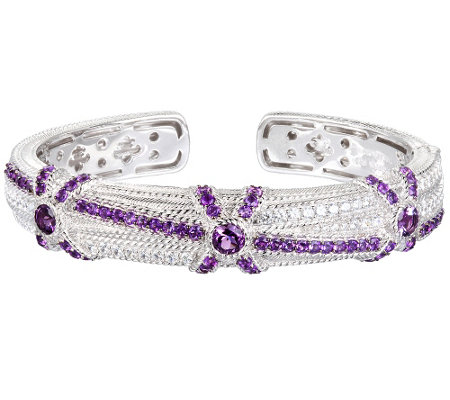 Judith Ripka Sterling 3.80 cttw Amethyst and Diamonique Cuff