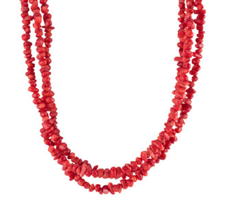 "American West 17"" Three-Strand Red Coral BeadedNecklace - J341135"