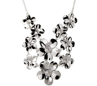 Vicenza Silver Sterling Polished Multi-Flower Necklace - J341535