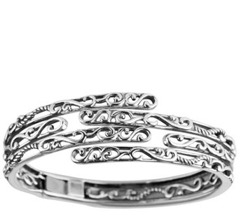 Carolyn Pollack Sterling Signature Layered Hinged Cuff - J341835