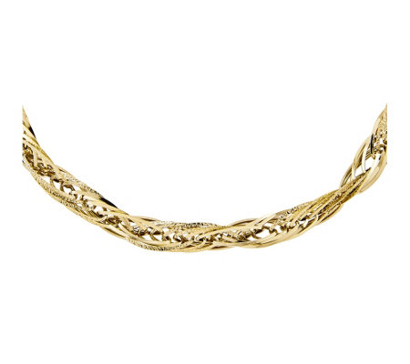 "14K Polished and Textured Fancy Link 18"" Necklace"