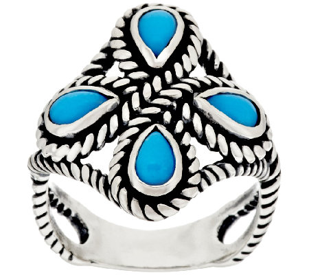 Turquoise Sterling Silver Rope Detail Ring by American West
