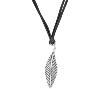 Sterling Double-Strand Leather & Leaf NecklaceAmerican West - J343335