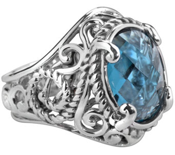 Carolyn Pollack Signature Sterling Oval LondonBlue Topaz Ring - J343635