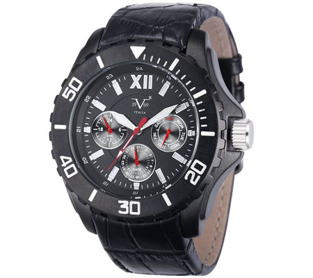 V19.69 Italia Men's Black Watch w/ Leathe r Strap