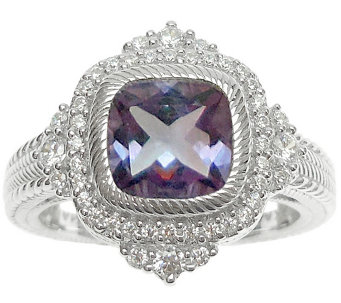 Judith Ripka Sterling Diamonique & Cushion-CutAmethyst Ring - J344035