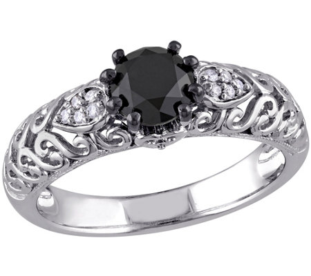 Round Black Diamond Ring, 1.00 cttw, Sterling,by Affinity