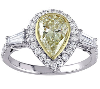 Pear Shaped Yellow Diamond Ring, 14K, 2.00 cttw, by Affinity - J344435