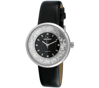Peugeot Women's Silvertone Diamond Marker BlackLeather Watch - J344635