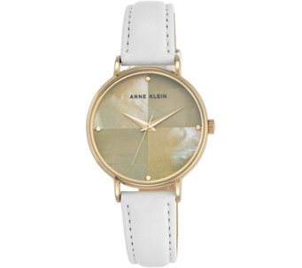 Anne Klein White Leather Strap Mother-of-PearlWatch - J344735