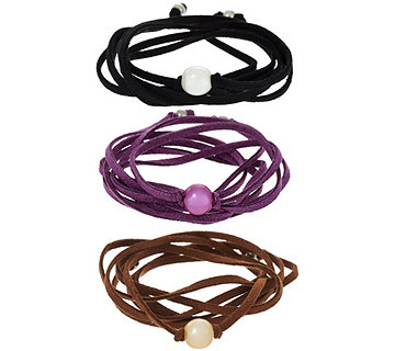 Honora Cultured Pearl Set of 3 Suede Wrap Bracelets - J345935