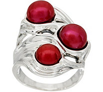 Hagit Sterling Silver Cultured Pearl Scultped Ring - J349735