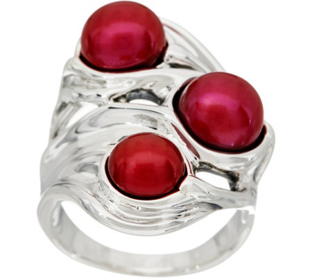 Hagit Sterling Silver Cultured Pearl Scultped Ring