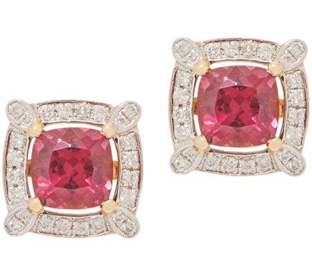 2 40 Cttw Rhodolite Garnet Amp Diamond Stud Earrings 14k