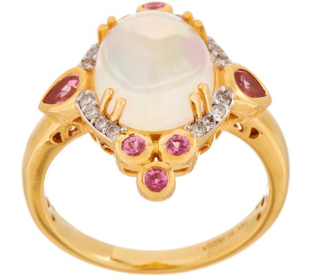 Ethiopian Opal, Pink Spinel and Diamond Ring, 14K