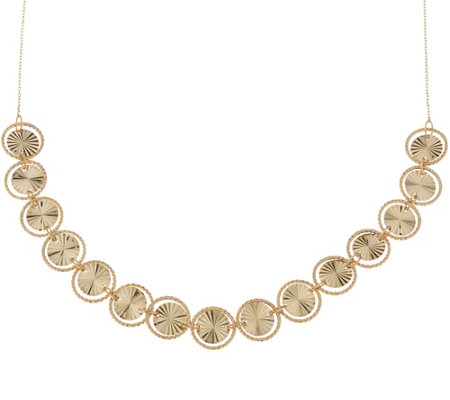 """As Is"" 14K Gold 18"" Diamond Cut Circle Necklace 5.7g"