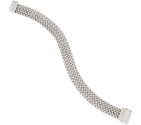 """As Is"" Italian Silver Diamonique Woven Bracelet, 17.2g"