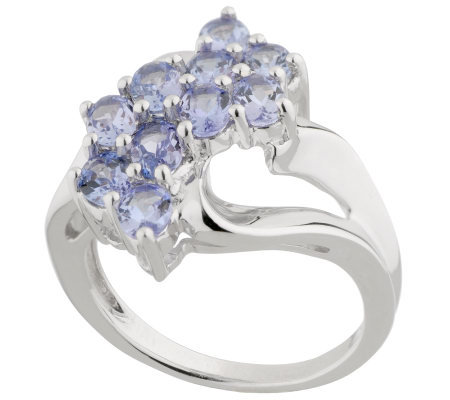 1.25 ct tw Tanzanite Waterfall Design Sterling Ring