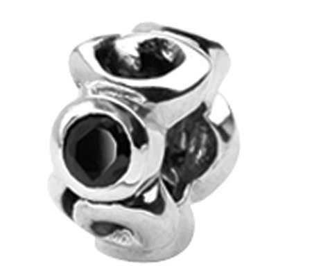 Prerogatives Sterling Black Cubic Zirconia Bead
