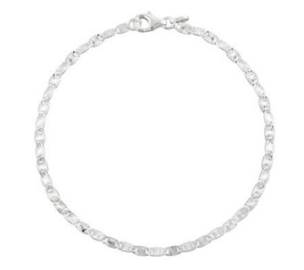 "UltraFine Silver 9"" Diamond Cut Confetti Link Anklet - J111336"