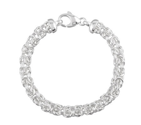 "UltraFine Silver 8"" Polished Byzantine Bracelet, 13.1g"