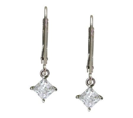 Diamonique Princess Cut Lever Back Earrings, Platinum Clad