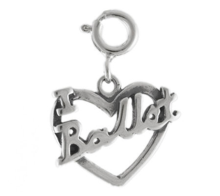 Sterling I Love Ballet Heart Charm