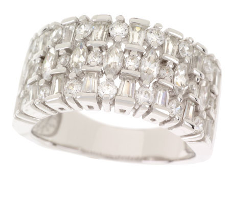 Epiphany Platinum Clad Diamonique Multi-Stone Wide Band Ring
