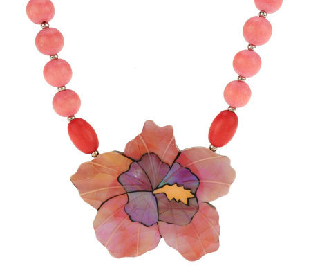 Lee Sands Hibiscus Shell Flower Inlay Necklace