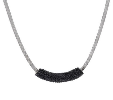 Stainless Steel Mesh Necklace with Crystal Accent