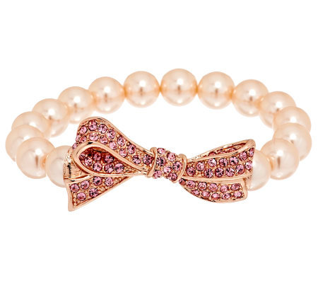 Kenneth Jay Lane's Pave Bow Simulated Pearl Stretch Bracelet