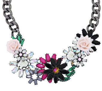 "Joan Rivers Jeweled Blossoms 15"" Necklace w/ 3"" Extender - J290036"