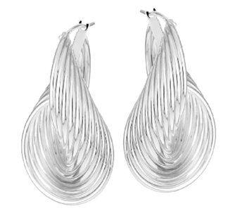 "UltraFine Silver 1-5/8"" Ribbed Sculpted Twist Design Hoop Earrings - J290136"