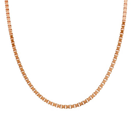 "Bronze 24"" Polished Box Chain Necklace by Bronzo Italia"