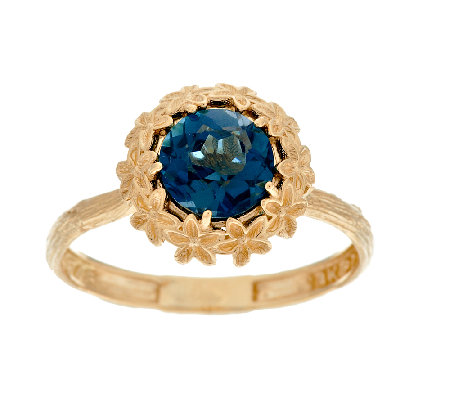 Adi Paz 1.35 ct London Blue Topaz Flower Design Ring, 14K Gold