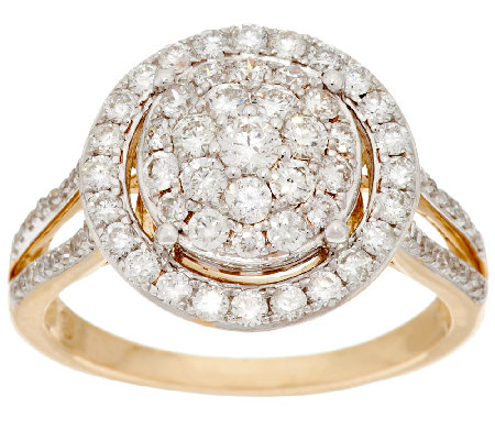 Cluster Halo Diamond Ring 14K Gold 1.00 cttw by Affinity