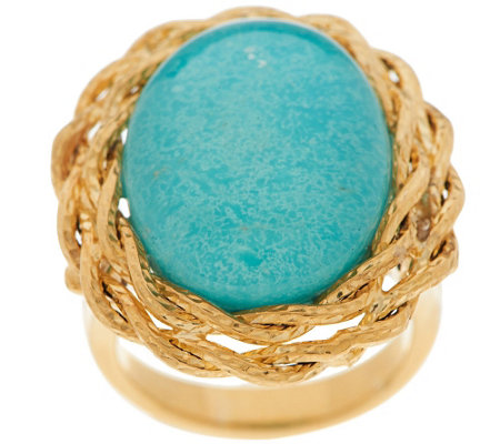 VicenzaGold Oval Turquoise Doublet Twisted Rope Border Ring, 14K Gold