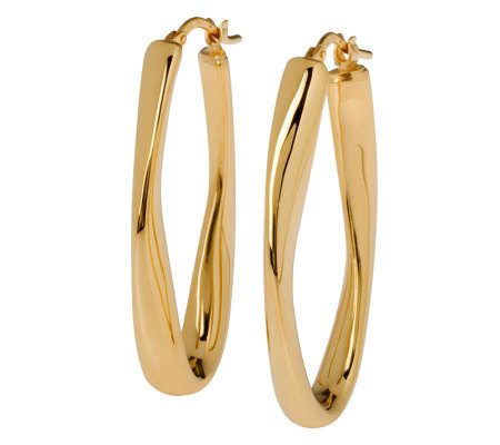 Veronese 18K Clad Wavy Oval Hoop Earrings