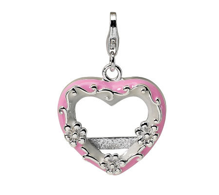 Amore La Vita Sterling Dimensional Pink Heart Photo Charm